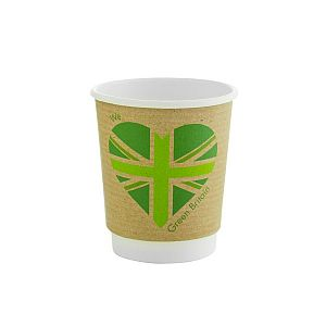 Double wall kraft cup, 240 ml, Green Britain, 79-series , 25 pcs per pack