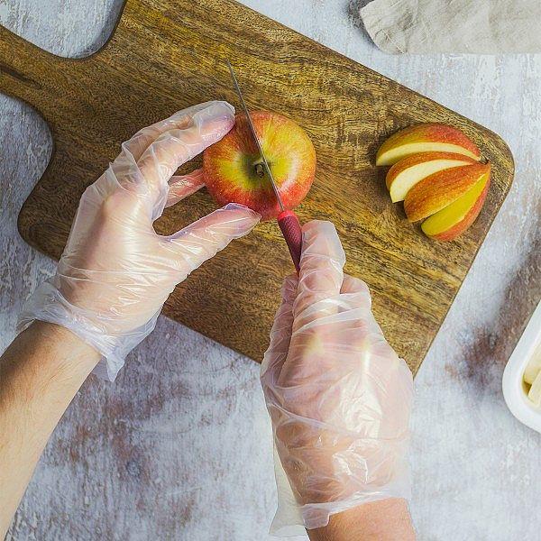 Toidu valmistamise kindad keskmise suurusega (M suurus), valged, pakis 100 tk