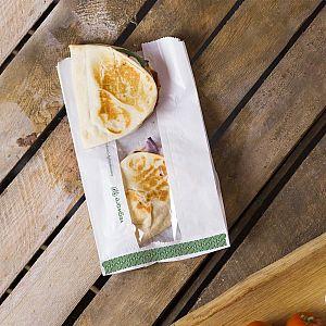 Пакет для горячей еды из белого пергамина с окошком из кукурузного крахмала, 152 x 215 x 254 мм, в пачке 500 шт