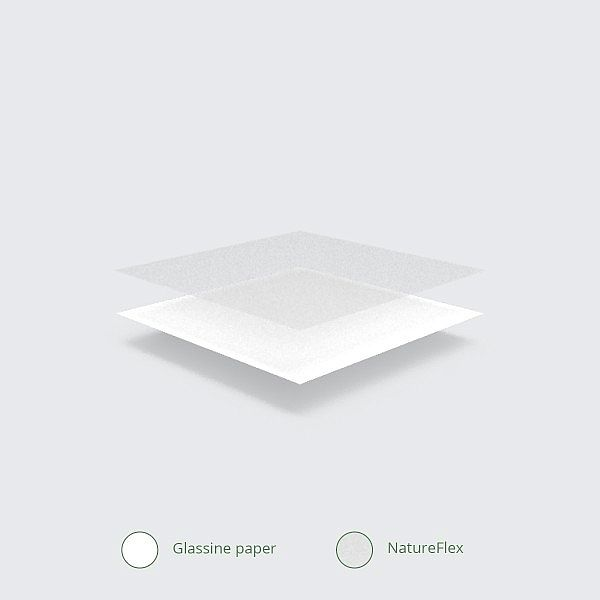 Kuumakott aknaga, valge pärgamiin NatureFlex, (152 x 215 x 254 mm), pakis 500 tk