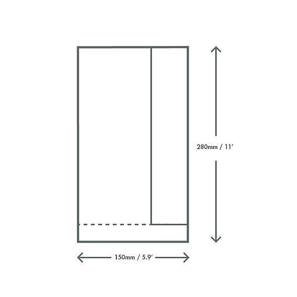 Kott kraft paberist, rasvaindel 150x60x280mm aknaga, 1000 tk, pakis 1000 tk