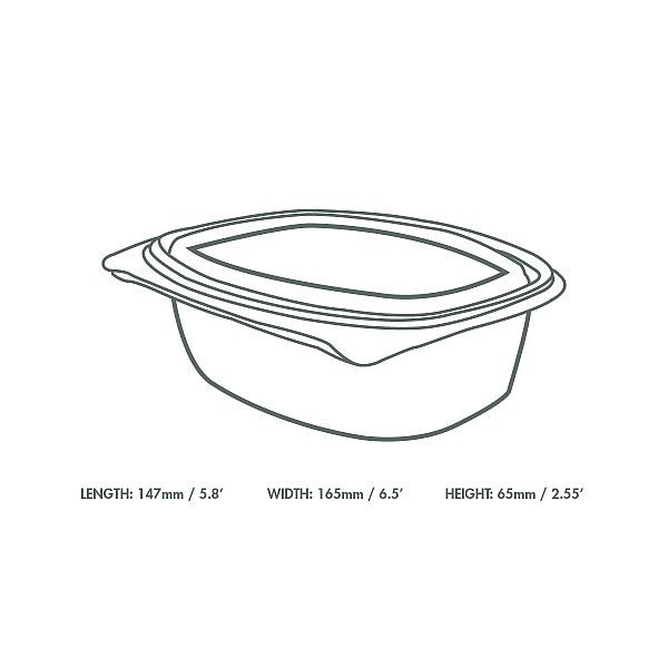 Hinged deli container, PLA, 720 ml, 50 pcs per pack