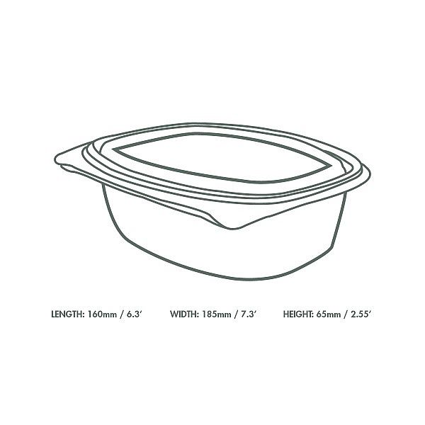 Hinged deli container, PLA, 960 ml, 50 pcs per pack