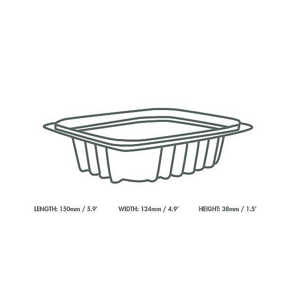 Ristkülikukujuline deli karp, PLA, 240 ml, pakis 75 tk