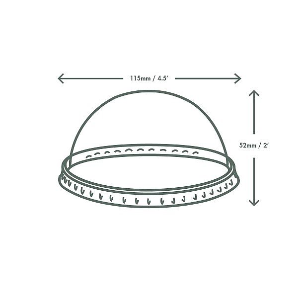 PLA dome lid, 115-series, 50 pcs per pack