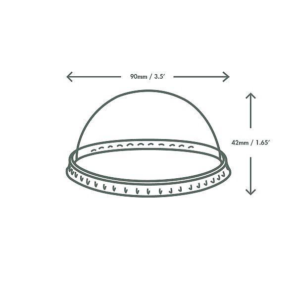 Крышка-купол из кукурузного крахмала для круглых контейнеров из бумаги, серия 90, в пачке 50 шт