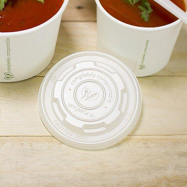 Плоская крышка из кукурузного крахмала, подходит для круглых контейнеров из бумаги, серия 90  , в пачке 50 шт