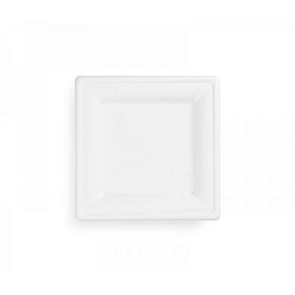 Bagasse square plate, 203 mm, 50 pcs per pack