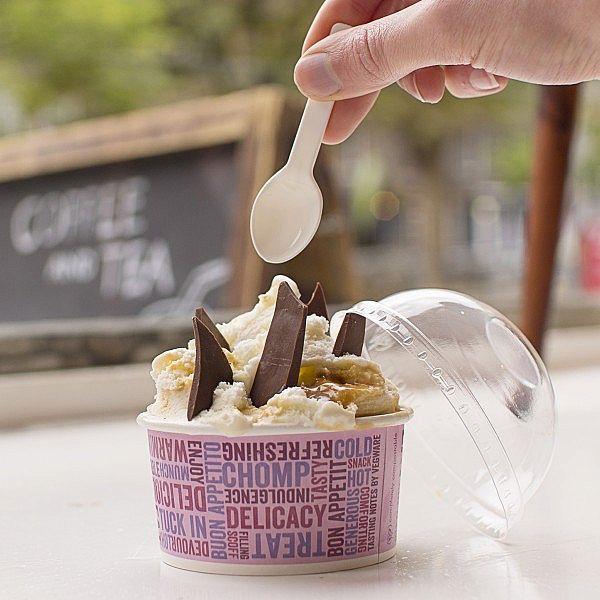 Saldējumam paredzētas karotes no kukurūzas cietes, baltas, 76 mm, iesaiņots 100 gabali