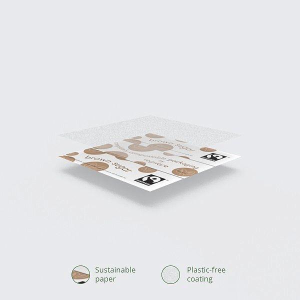 "Pruun suhkur ""Fairtrade"" paberpulkades (sticks), pakis 1000 tk"