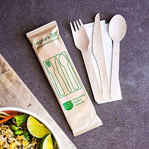 Ühekordne komposteeritav söögiriistade komplekt (nuga, kahvel, lusikas ja salvrätt), puidust, pakis 50 tk