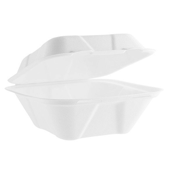 Bagasse clamshell box (177 x 177 mm), 50 pcs per pack