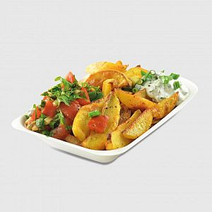 Compostable medium bagasse chip tray, 50 pcs per pack