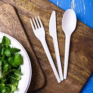 Disposable compostable CPLA fork, 165 mm, 50 pcs per pack