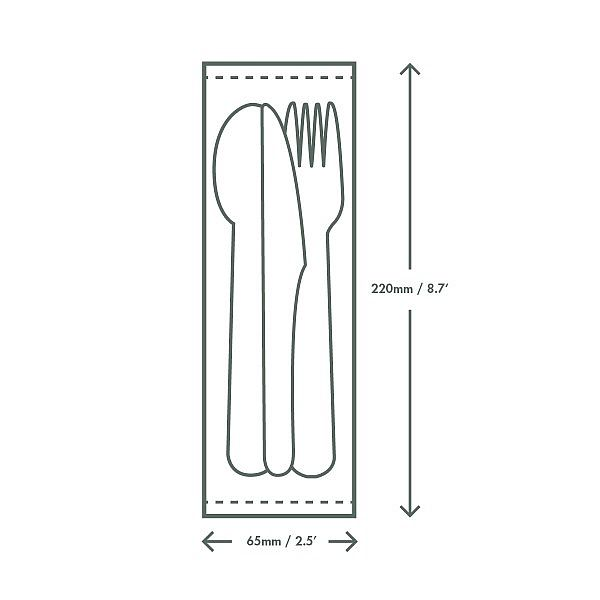 Disposable compostable cutlery kit (knife, spoon, fork, napkin), 250 pcs per pack