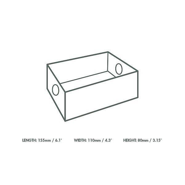 Ieliktnis ar tauku izturīgu pārklājumu, kas paredzēts daudzfunkcionālajām kastēm no kraft papīra, 75 x 125 x 80 mm, iesaiņots 50 gabali