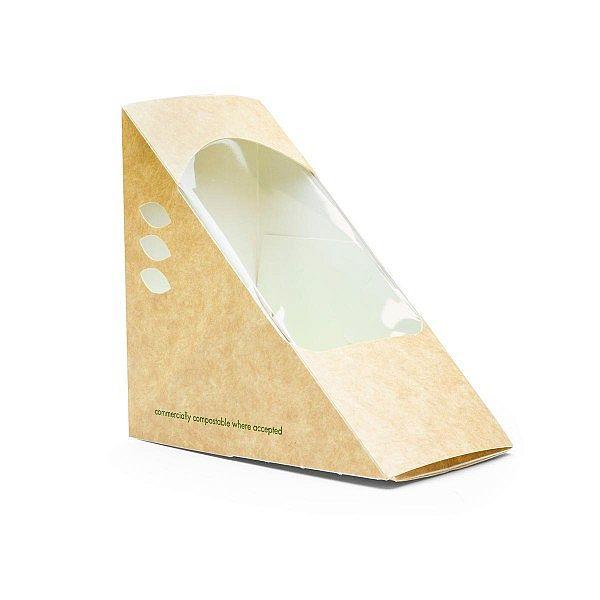 Kraft papīra trīsstūris sviestmaizēm ar lodziņu no kukurūzas cietes, 75 mm, iesaiņots 500 gabali