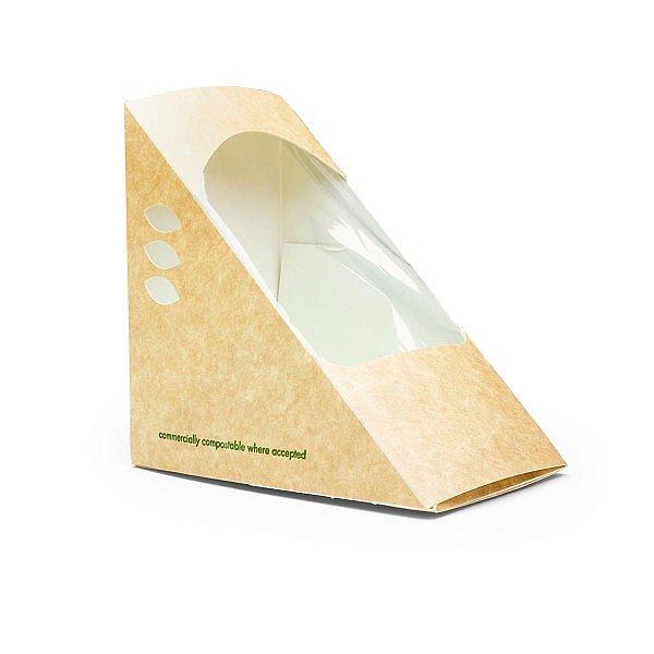 Треугольник для сэндвичей из крафт-картона, с окошком, 85 мм, в пачке 500 шт