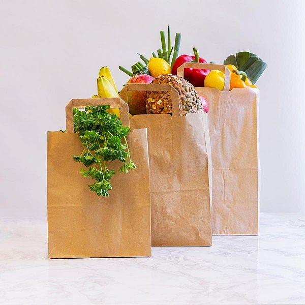 Papīra maisiņš no pārstrādāta kraft papīra, 250 x 140 x 305 mm, iesaiņots 250 gabali