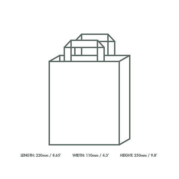 Бумажный пакет из переработанной крафт-бумаги, 220 x 110 x 250 мм, в пачке 250 шт