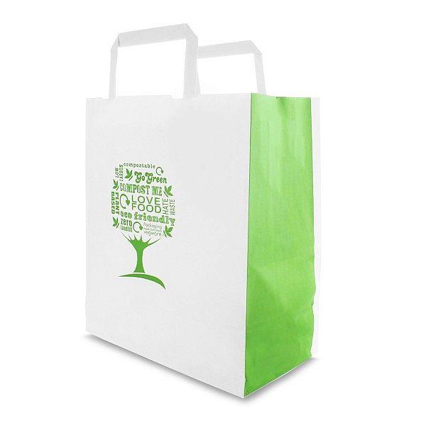 """Бумажный пакет """"Green Tree"""" из переработанной крафт-бумаги, 220 x 110 x 250 мм, в пачке 250 шт"""